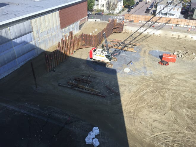 A section of sheet piling driven into the ground near Cherry Street in Burlington, Vermont, seen on Oct. 10, 2018, is among the few evidence of progress see on the site of the future CityPlace Burlington over the fall. Several pieces of construction equipment sit idle on cleared site of the former Burlington Town Center mall on Oct. 10, 2018, in Burlington, Vermont. The demolition of Burlington Town Center began in December 2017 to make way for CityPlace.