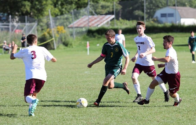 West Rutland's Eric Maxham (7) has scored 116 career goals. The senior's total is believed to be a Vermont high school boys soccer state record.