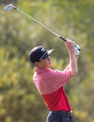 Rutland's Logan Broyles eyes his tee shot on the 16th hole during the 2018 high school golf state championships at Country Club of Vermont on Wednesday.