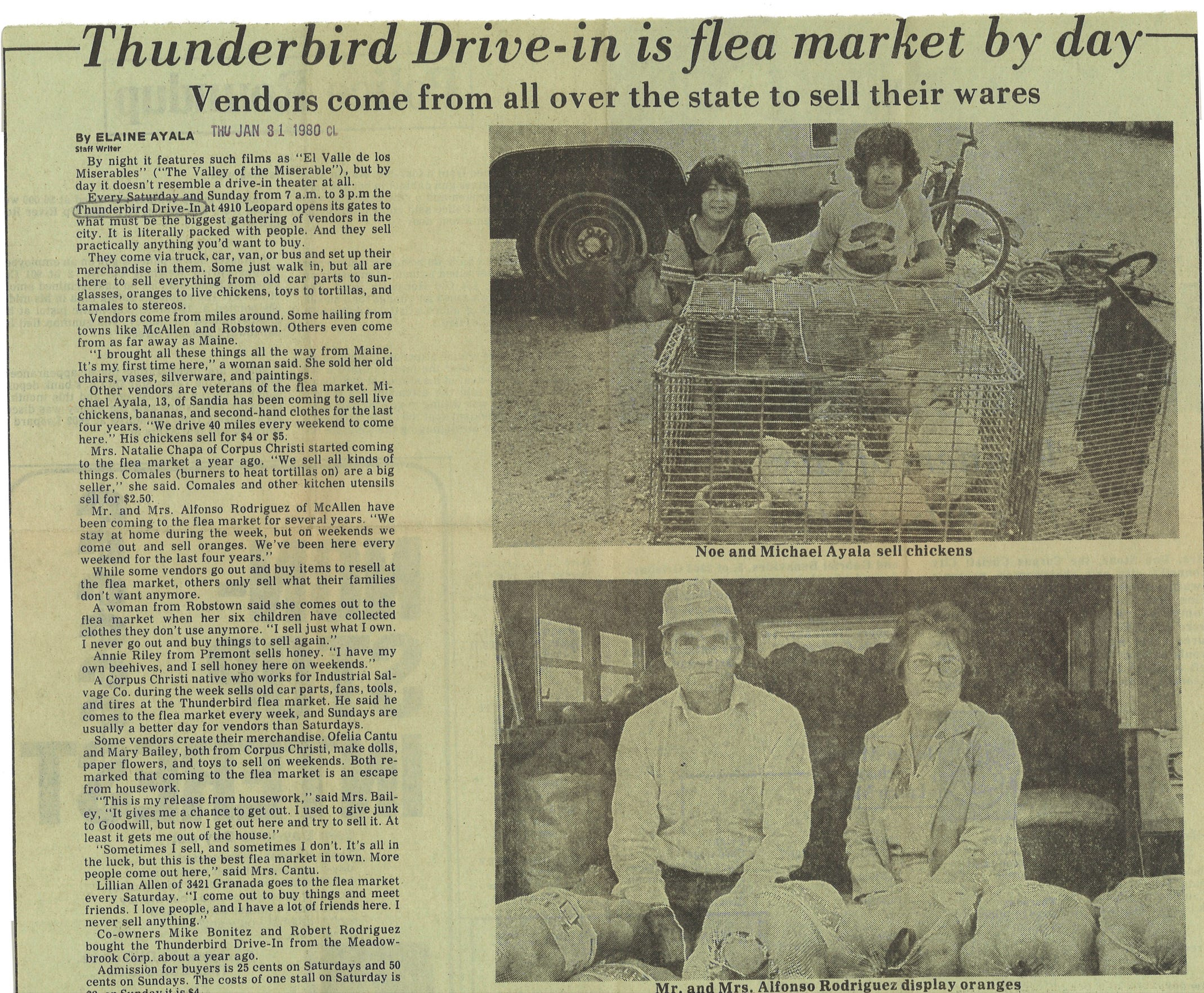 Article from the Community Life section of the Caller-Times on Jan. 31, 1980 describing the Thunderbird Flea Market.