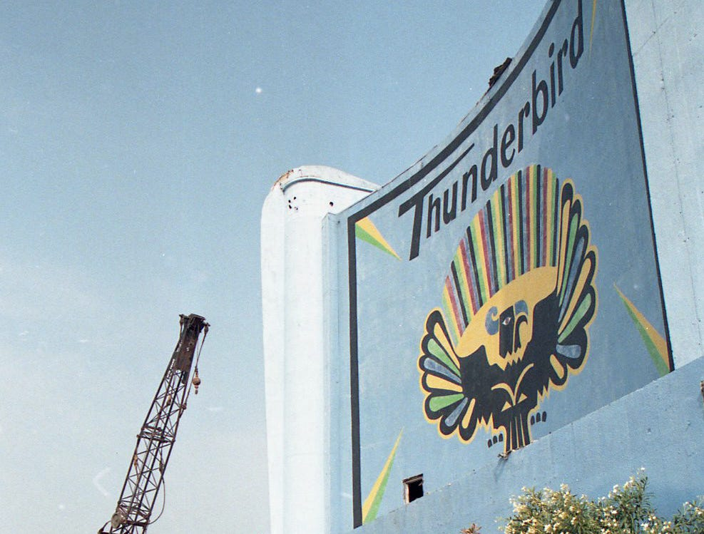The Thunderbird Drive-In movie theater on Leopard Street in Corpus Christi was demolished on May 4, 1998