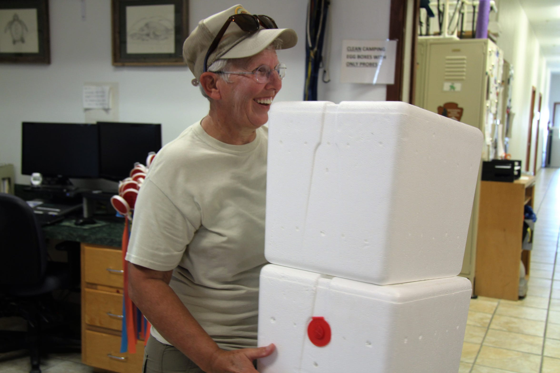 Cheerful volunteer Nancy Devlin spent hundreds of hours recycling styrofoam egg containers used at Padre Island National Seashore's Division for Sea Turtle Science and Recovery Program.