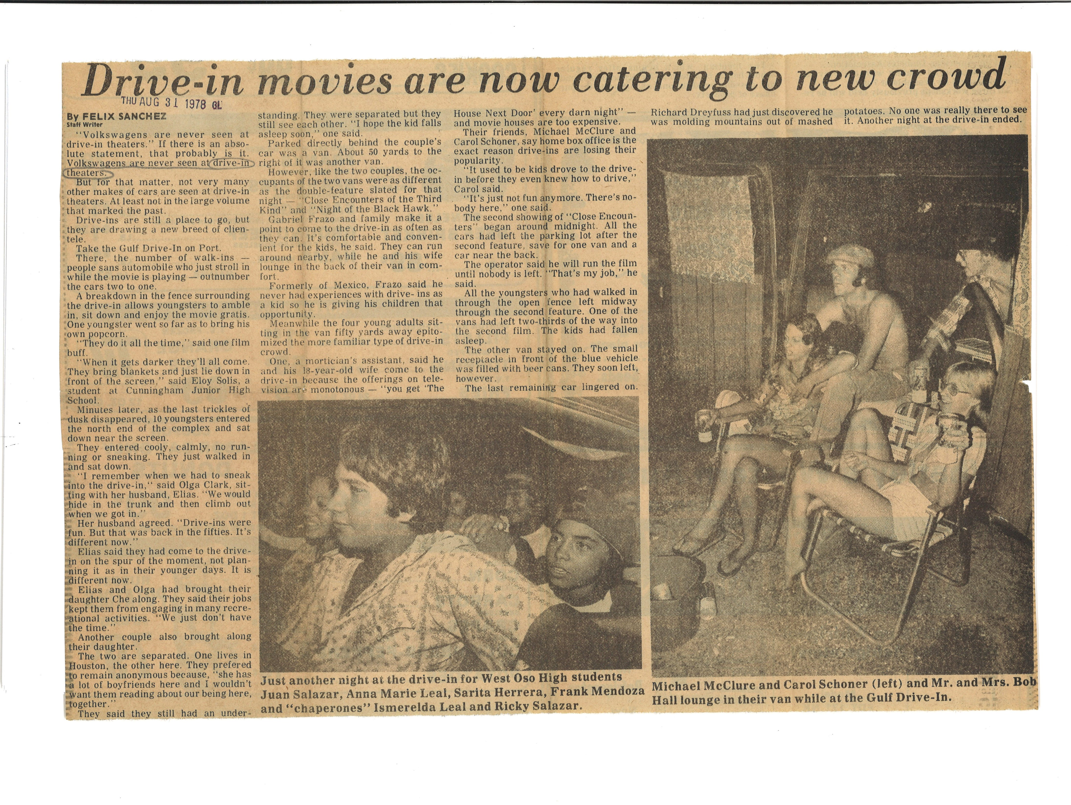 Article from Aug. 31, 1978 Caller on drive-in movie theaters.
