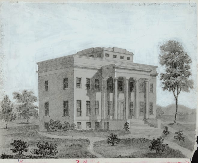 Drawing of the original observatory in Mount Adams, 1845-1850.