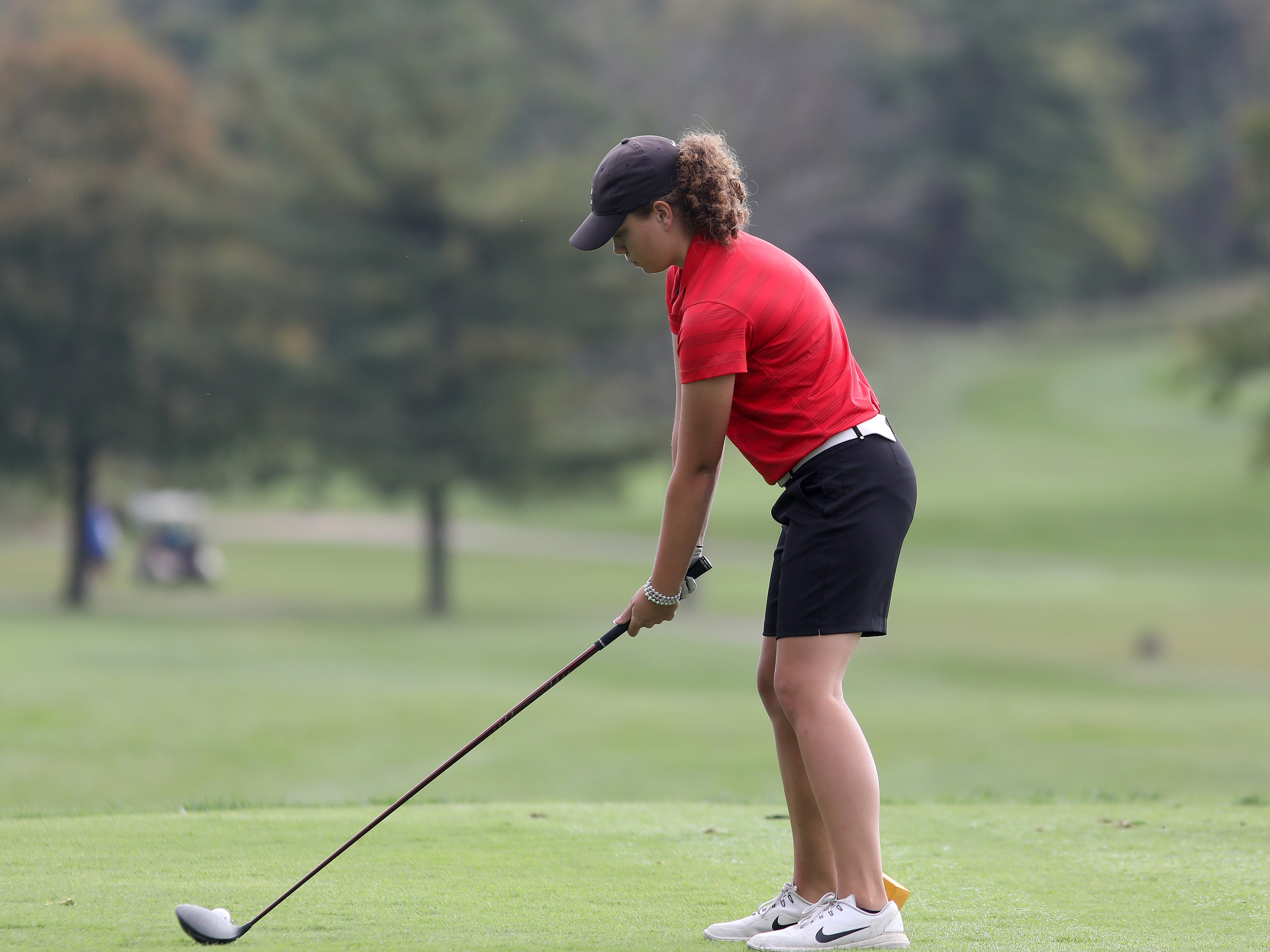 Colerain's Alex  Schutte tees off at the girls district golf tournament at GlenView Golf Course, Tuesday, Oct. 9, 2018.