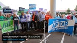 Democratic candidates for the U.S. House of Representatives Aftab Pureval and Jill Schiller spoke outside the county Board of Elections Wednesday.