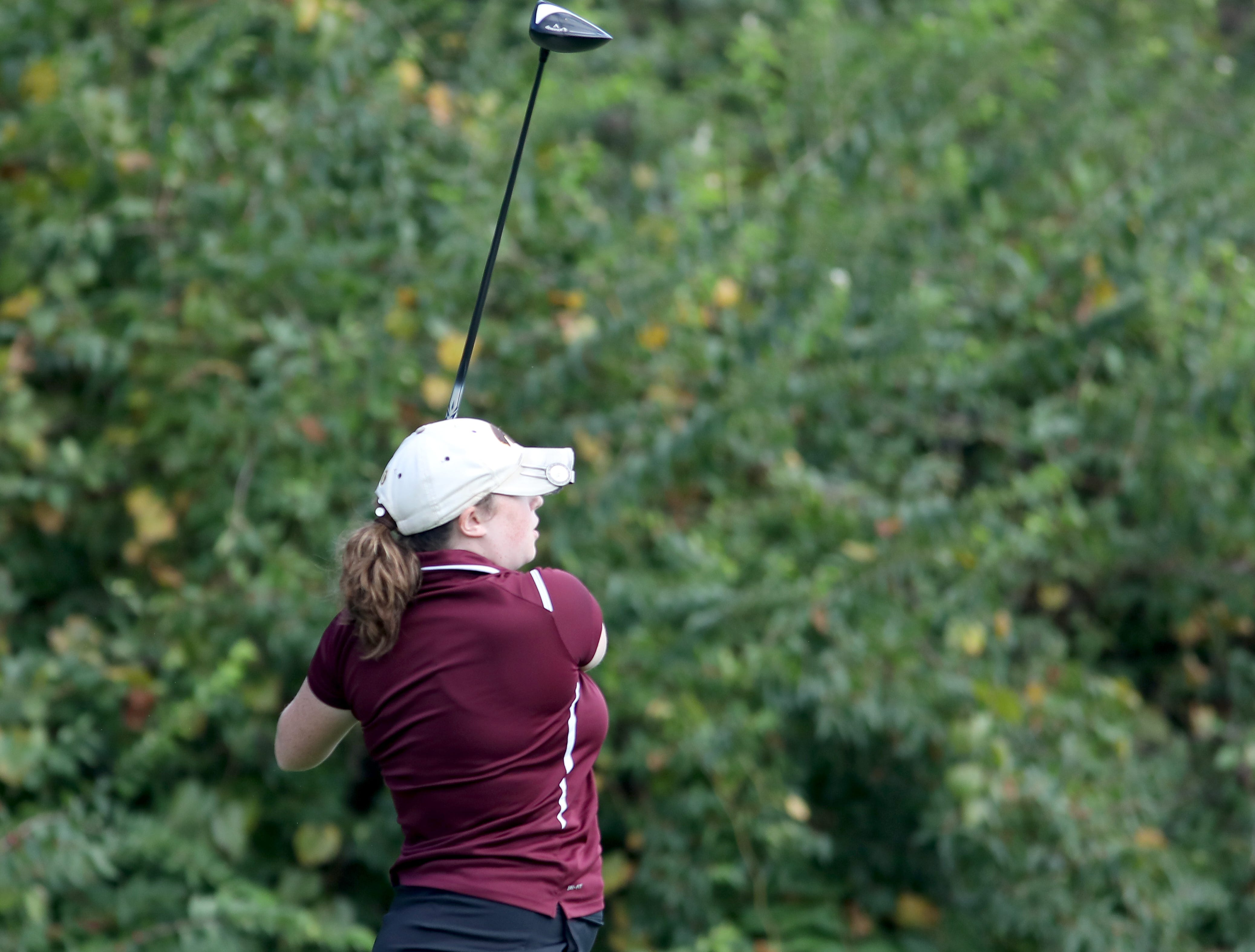 Turpin's Elizabeth Chamberlin tees off at the district tournament at GlenView Golf Course. Tuesday, Oct. 9, 2018.