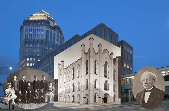 The Moorish-styled Broadway Shul, a synagogue that became the Allen Temple AME Church, was torn down to build the Procter  & Gamble Co. headquarters (background).