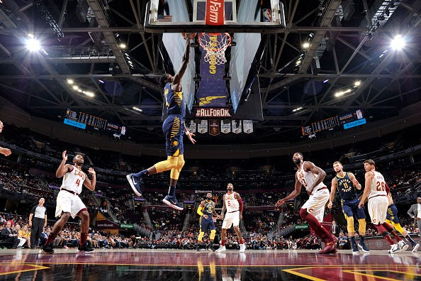 Edmond Sumner #5 of the Indiana Pacers shoots the ball against the Cleveland Cavaliers during a preseason game on October 8, 2018 at Quicken Loans Arena, in Cleveland, Ohio.
