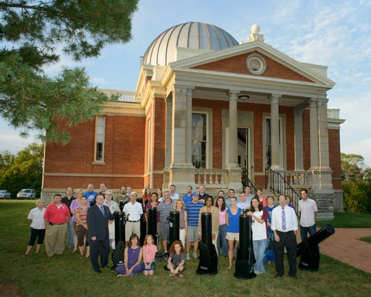 The main Cincinnati Observatory building in Hyde Park with staff and volunteers taken on Sept. 1, 2012.