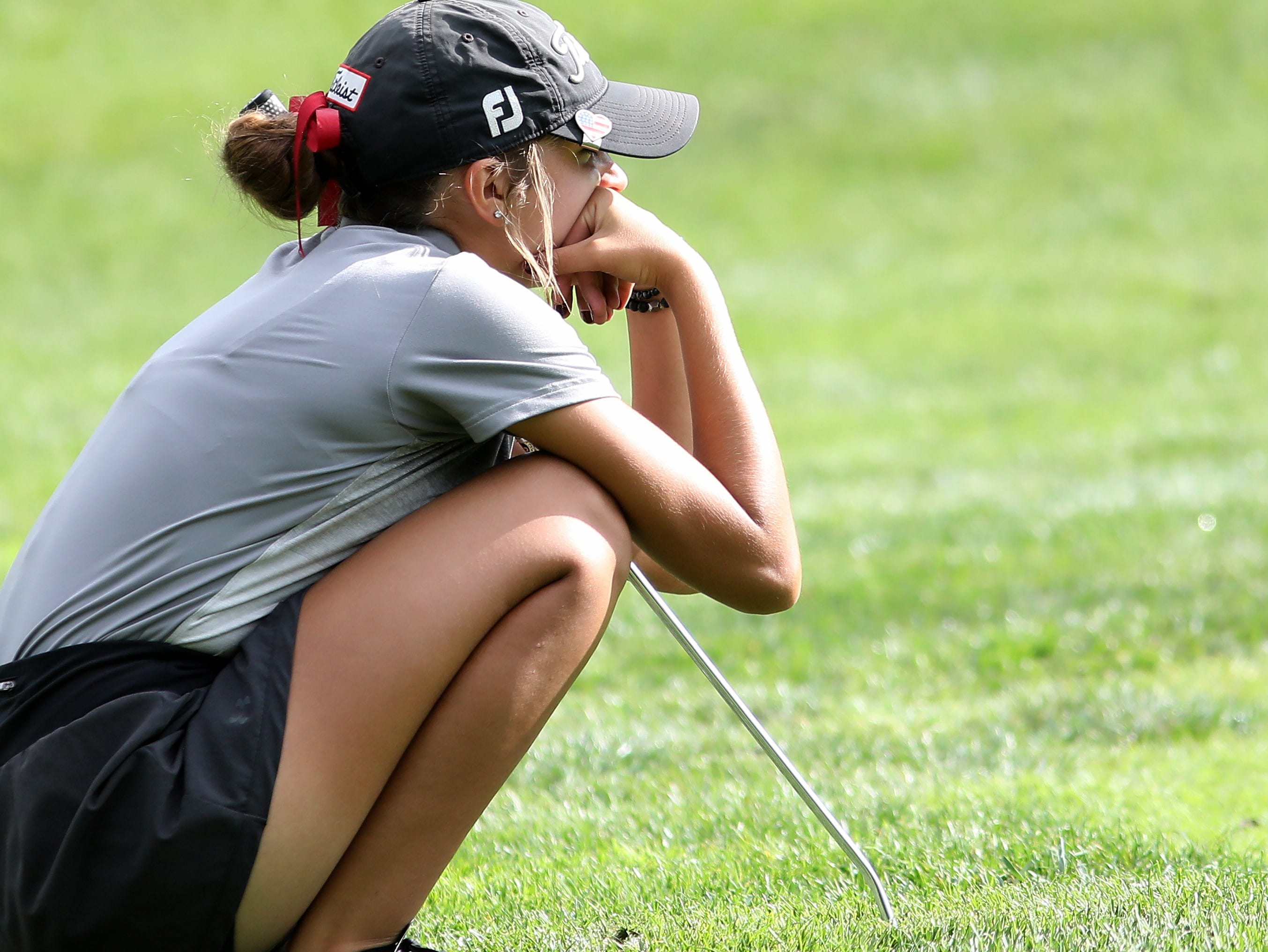 Lebanon's Maddie Owens eyes her shot during the district tournament, Tuesday, Oct.9, 2018.