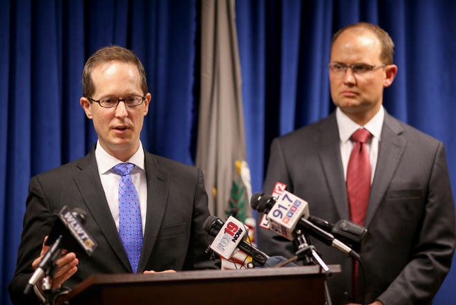 Benjamin Glassman, the U.S. Attorney for the Southern District of Ohio, announces the arrest of Chinese intelligence officer Yanjun Xu, in connection with conspiring and attempting to commit economic espionage and steal trade secrets from several U.S. aviation and aerospace companies, Wednesday, Oct. 10, 2018, at the offices of the U.S. Attorney for the Southern District of Ohio in Cincinnati.