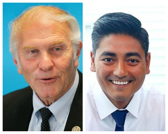 Congressional candidates Steve Chabot, left, and Aftab Pureval