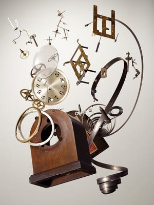 Todd McLellan: Mantel clock made by E. Ingraham in 1928. Component  count: 59