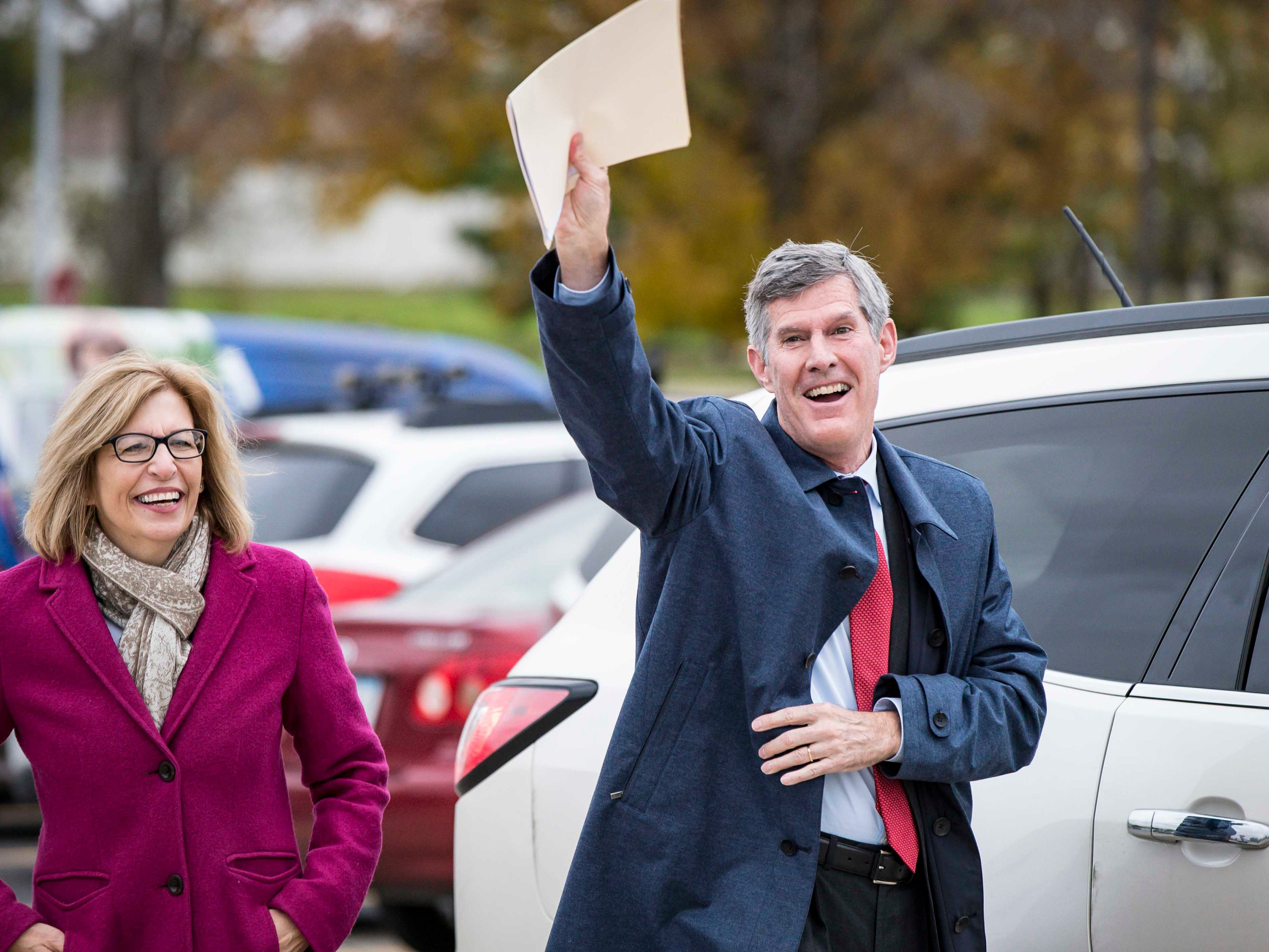 Democratic challenger Fred Hubbell and his running mate Sen. Rita Hart, arrive for his debate with Republican Iowa Gov. Kim Reynolds hosted by the Des Moines Register and KCCI Wednesday, Oct. 10, 2018, at Des Moines Area Community College in Ankeny, Iowa. The debate os moderated by the Register's Kathie Obradovich and KCCI's Steve Karlin.
