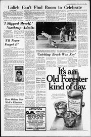The Detroit Free Press sports section, page 3D, on Oct. 11, 1968, the day after the Tigers won the World Series. Al Kaline's column is on the left.