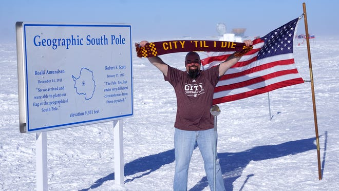 David Wolf, an Auburn Hills electrician, took the D to the geographical South Pole marker on Jan 1. On the first day of each year, scientists mark the newly surveyed location of the geographical South Pole. The temperature on this day was 9 below zero Fahrenheit with a wind chill of 32 below. Wolf is currently finishing up a one year stay at the Amundsen-Scott South Pole Station in Antarctica.