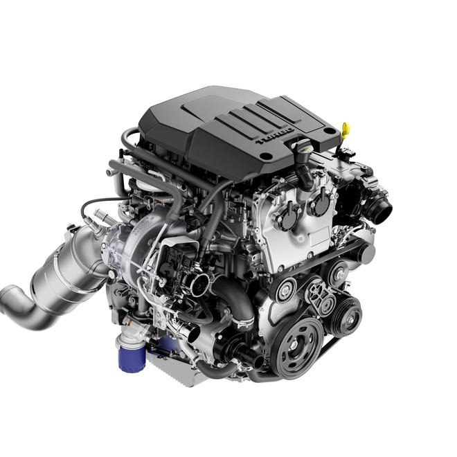 Chevrolet's new turbo 2.7L four-cylinder engine is paired with an eight-speed automatic transmission and produces   310 hp and 348 lb-ft) of torque in the 2019 Silverado pickup
