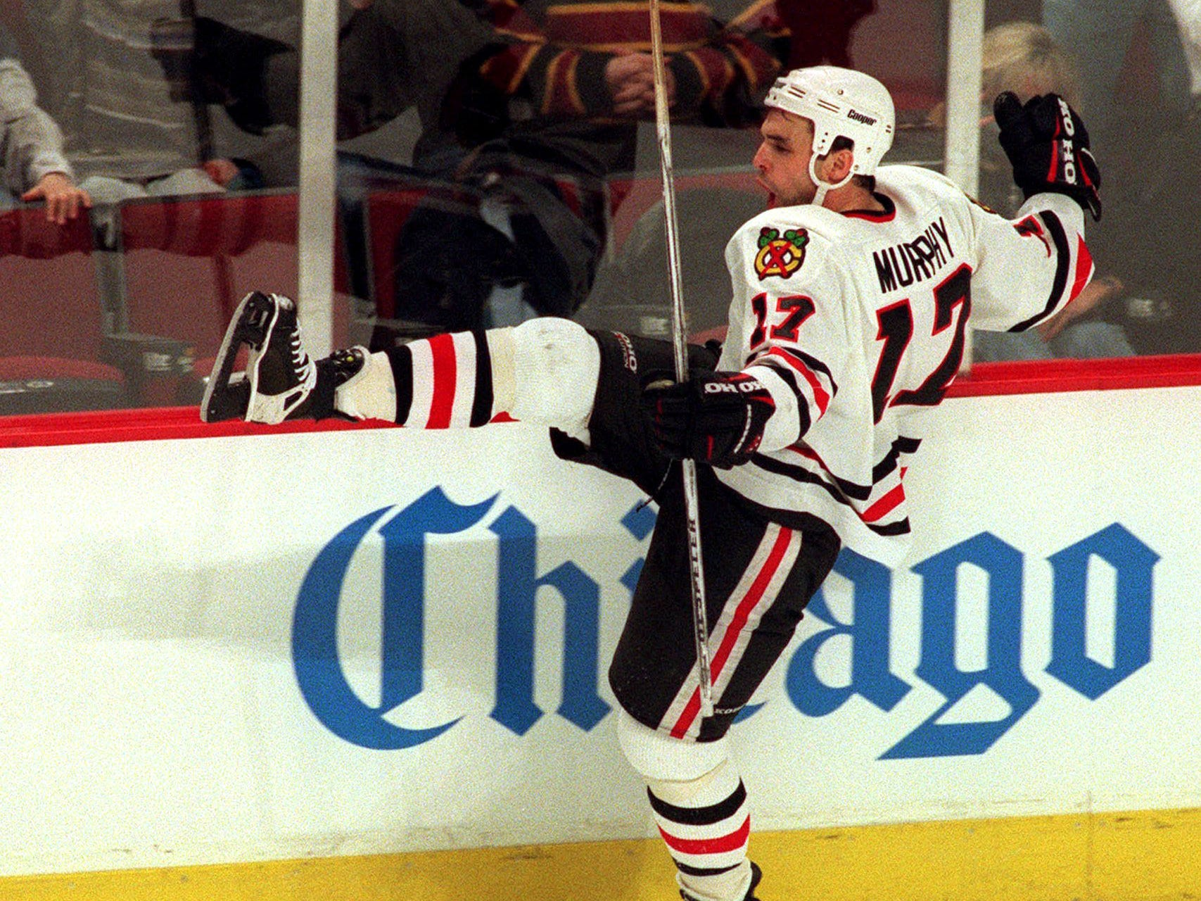 Chicago Blackhawks' Joe Murphy celebrates a second-period goal against the Florida Panthers on Monday, March 11, 1996, in Chicago. The Blackhawks snapped a four-game losing streak, beating the Panthers 8-4.