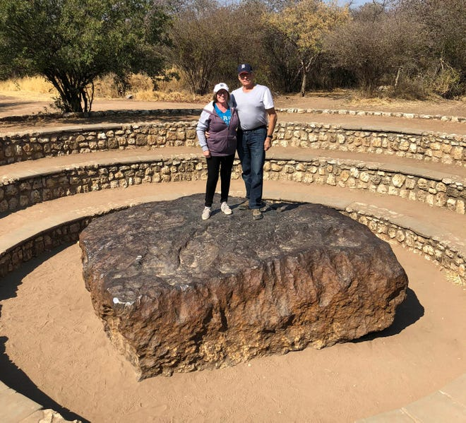 Marie and Dale Schneider of Chesterfield took the D to Grootfontein, Namibia, in August. Near the city is the world's largest known meteorite. Known as the Hoba or Hoba West meteorite, it is believed to have fallen to Earth around 80,000 years ago and was discovered around 1920 by a farmer. Because of its mass, it has never been moved from where it landed.