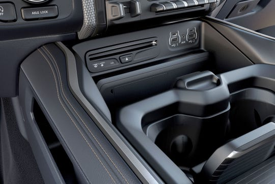 The bigger and deeper center console in the redesigned 2019 Ram 1500 pickup.