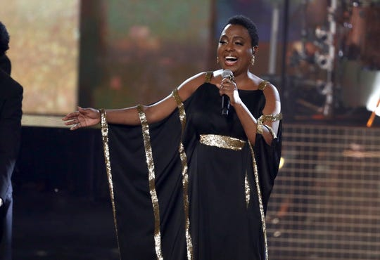 "Ledisi performs ""How I Got Over"" during a tribute to the late singer Aretha Franklin at the American Music Awards."