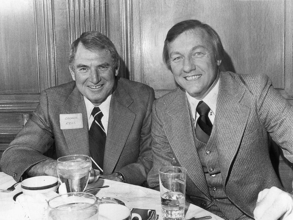 George Kell, left, and Al Kaline, right, two Tigers Hall-of-Fame players, would first work the Tigers TV broadcasts together in 1976. They would spend 21 years working alongside each other, the longest Tigers TV tandem ever, through 1996, from WWJ to WDIV to WKBD. In 1977 and 1978, they were joined by Joe Pellegrino, and in 1978-79 Mike Barry joined the booth. But from 1980-96, it was just George and Al.