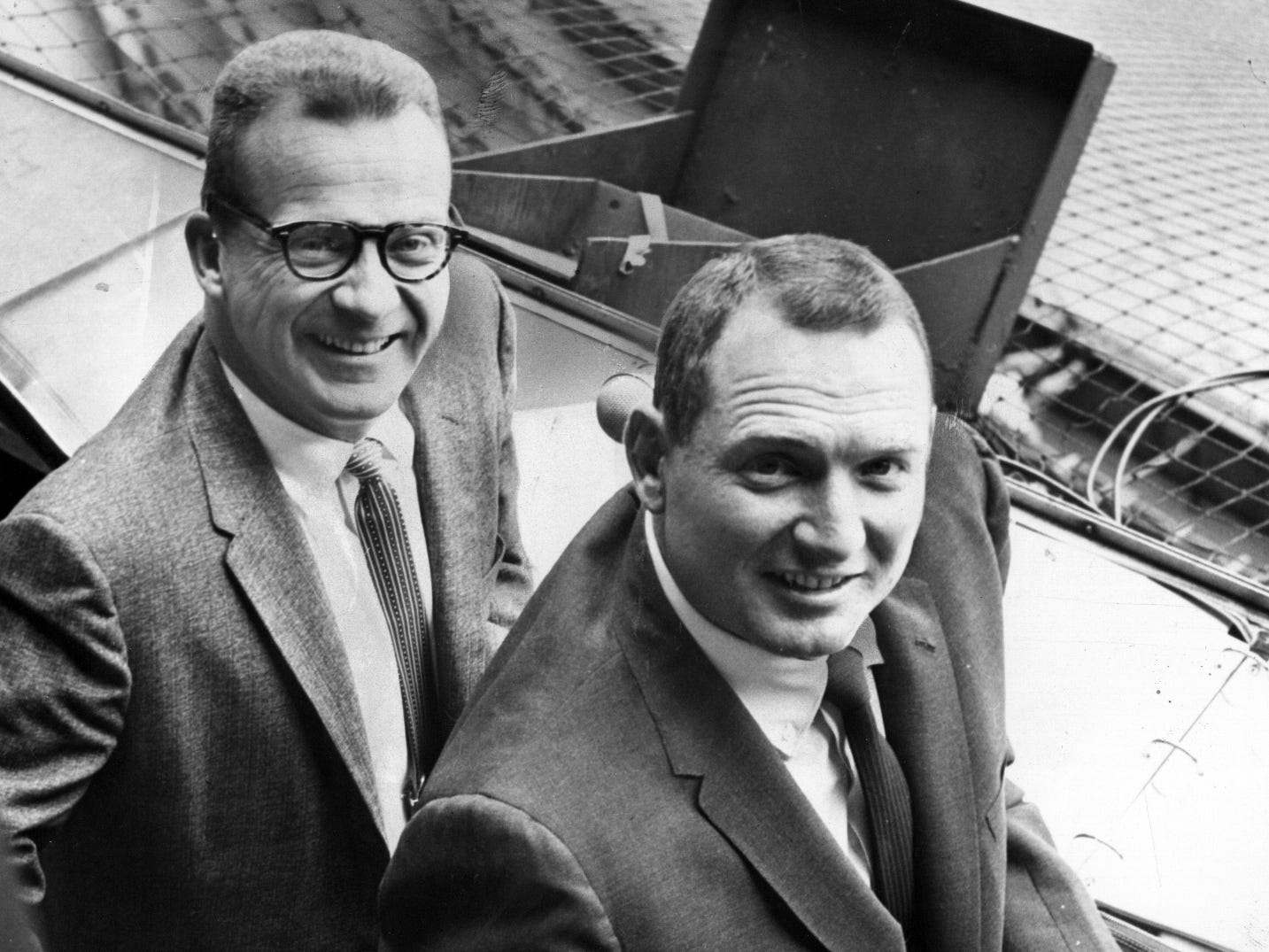 Former Tigers player George Kell, right, joined the booth in 1959, working alongside van Patrick. Kell then recommended the Tigers hire a broadcaster named Ernie Harwell, left. The two worked together from 1959-63 calling Tigers TV on WJBK.