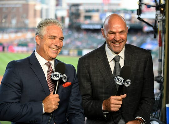 Fox Sports Detroit broadcasters, Kirk Gibson, right, and Matt Shepard, have some fun during a segment in the pregame show before a Tigers game in July at Comerica Park.
