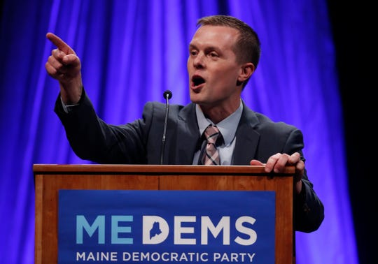 State Rep. Jared Golden, D-Lewiston, a candidate for the 2nd District Congressional seat, addresses the Democratic Convention, Friday, May 18, 2018, in Lewiston, Maine.