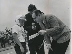 Local TV personality Don Kremer, presenting a prize to a Soap Box Derby winner in the 1960s, joined the Tigers TV booth for two season, in 1975-76 on WWJ, working alongside George Kell, Larry Osterman and Al Kaline.
