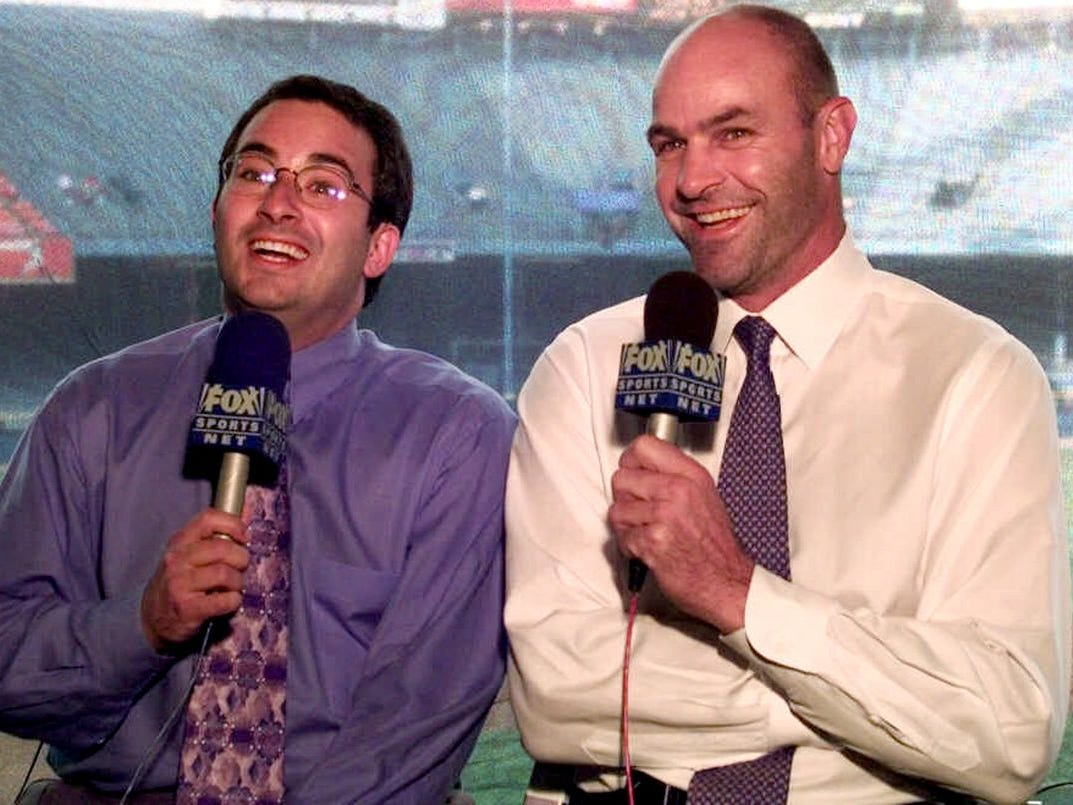 "From 1998-2001 on Fox Sports Detroit, a young sportscaster named Josh Lewin, left, worked alongside Tigers legend Kirk Gibson. They developed quite the following, and were affectionately known as ""Gibby and the Geek."""