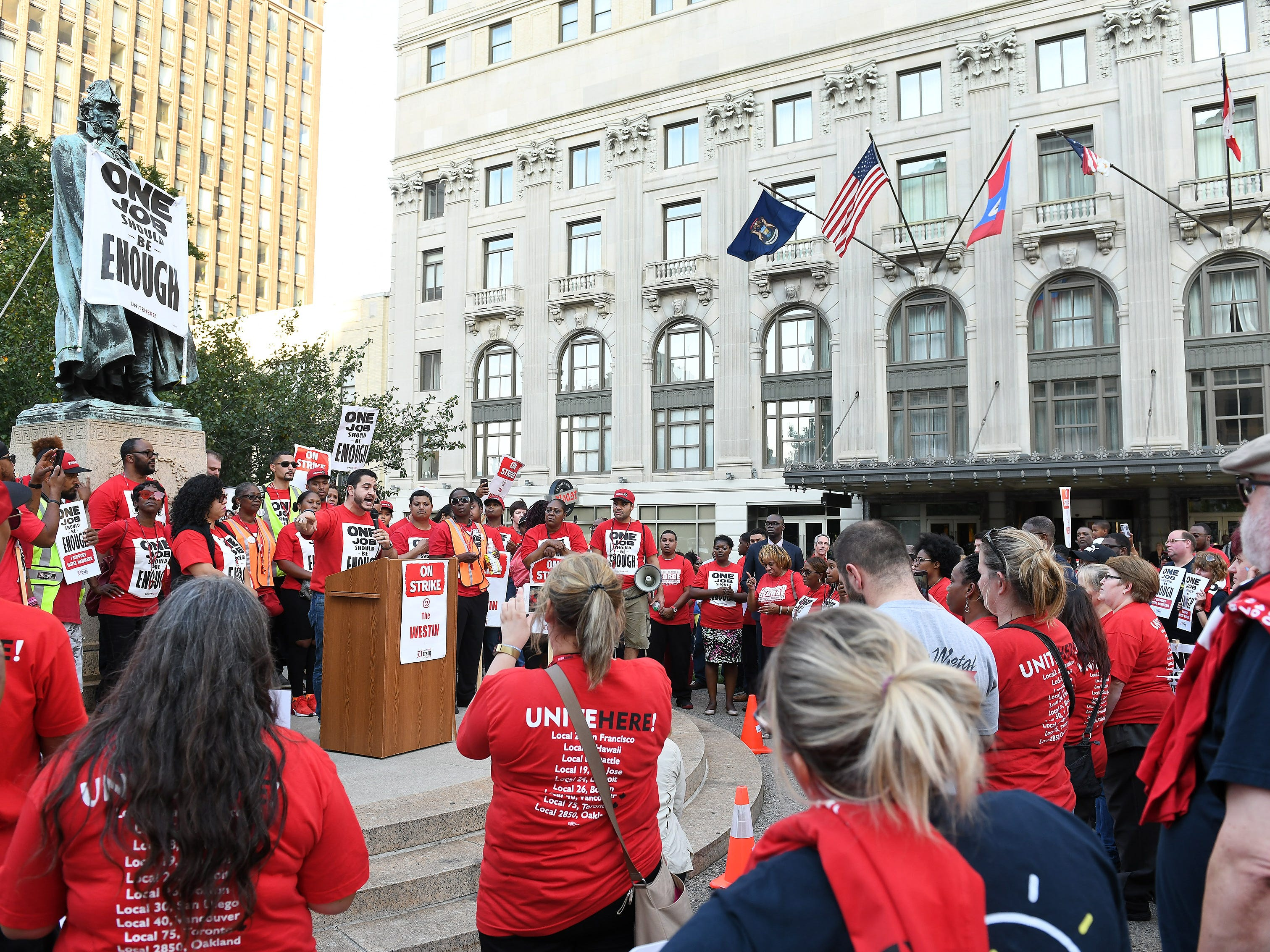 Democratic activist Abdul El-Sayed speaks at a rally for workers from Unite Here Local 24 on strike at the Westin Book Cadillac.