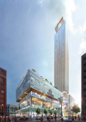 A rendering of the Hudson's site development planned for Woodward at Grand River.
