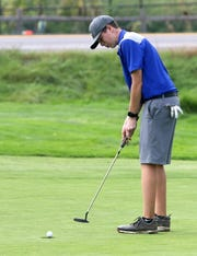 Matt Printup of Horseheads makes a putt on the 15th hole during the STAC golf championships Oct. 9, 2018 at Robert Trent Jones Golf Course in Ithaca.