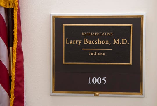 A nameplate greets visitors outside 8th District Congressman Larry Bucshon's Capitol Hill office.