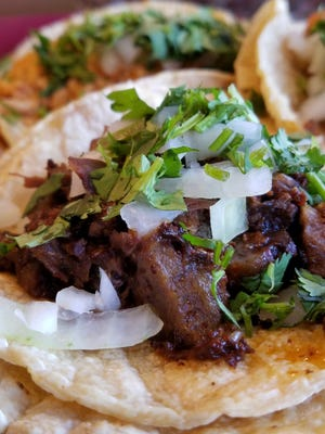 This taco with cachete or beef cheek meat is from Fide's in Newburgh. Find many other authentic Mexican tacos Saturday at the Evansville Taco Fest this Saturday, Oct. 13
