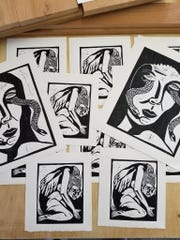 Black and white block prints by Charles Shoemaker available at Fall YART.