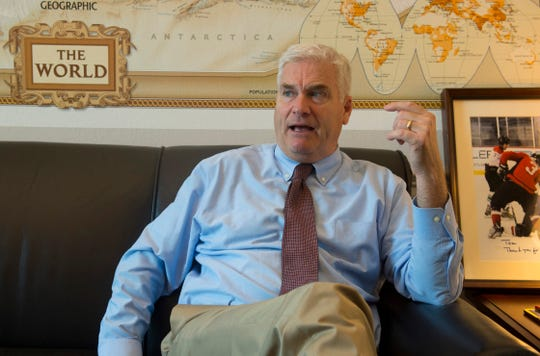 Minnesota Congressman Tom Emmer speaks about relationships in Congress in his Washington, D.C. office in July of 2018.