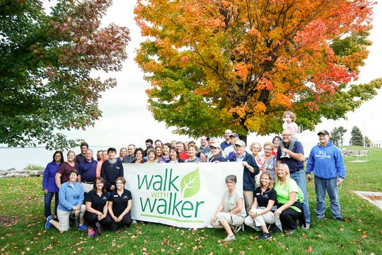 """Wisconsin's first lady Tonette Walker posed for photos with about 35 people Tuesday, Oct. 9, in Lakeside Park before her """"Walk With Walker"""" event."""