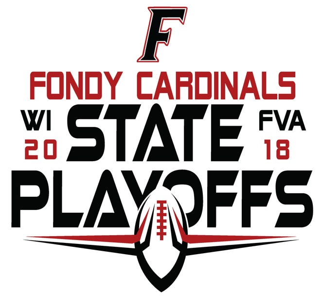 The design for the 2018 Fondy Cardinals' football playoff shirts.
