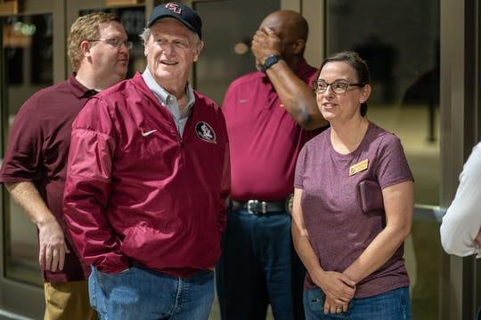 FSU President John Thrasher and Amy Farnum-Patronis, assistant director of University News & Digital Communications, at the Donald L. Tucker Civic Center shelter preparing for Hurricane Michael.