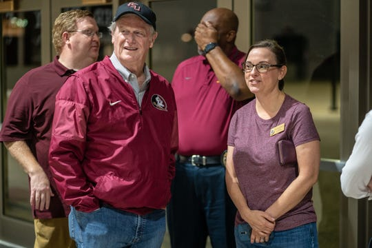 FSU President John Thrasher and Amy Farnum-Patronis, assistant director of University News & Digital Communications, at the Donald L. Tucker Civic Center shelter preparing for Hurricane Michael.