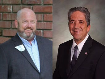 Sen. John Kefalas and interim county commissioner Sean Dougherty are seeking the District 1 seat in the Nov. 6, 2018 election.