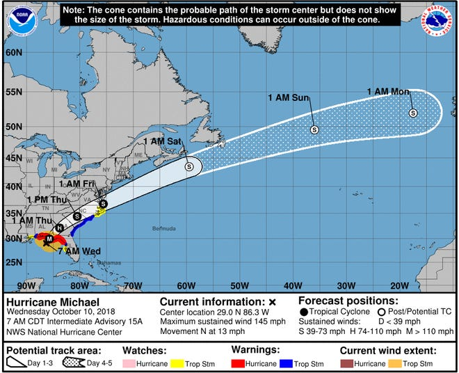 The National Hurricane Center's projected path for Hurricane Michael as of 11 a.m. EST on Wednesday, Oct. 10, 2018.