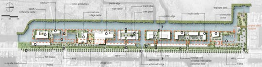 A screenshot from the firm CBRE shows the design concept plan for Seven Islands in northwest Cape Coral.