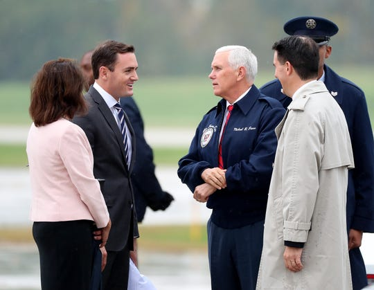 Vice-president Mike Pence, senate candidate Leah Vukmir, left, U.S. Rep. Mike Gallagher and Gov. Scott Walker at Green Bay Austin Straubel International Airport with U.S. Rep. Mike Gallagher Wednesday, October 10, 2018.