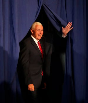 Vice President Mike Pence arrives at a campaign event for Gov. Scott Walker at the Oneida Golf & Country Club on Wednesday, October 10, 2018 in Green Bay, Wis.