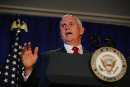 Vice President Mike Pence speaks Wednesday at a fundraiser for state Republican candidates  at Oneida Golf & Country Club in Green Bay.