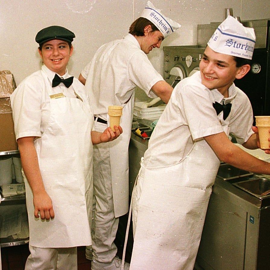 Employees of Storheim's Frozen Custard, 1860 W. Mason St., in 1999.  From left, are Jenni Hottenstine, Valerie Snell, Nicolas Stillings,  and Jordan Schuld.